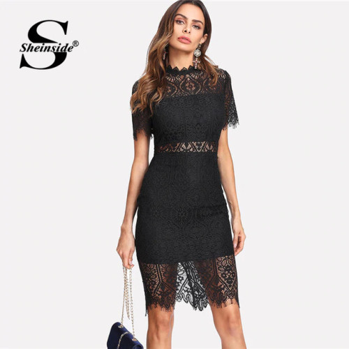 Sheinside Bodycon Party Dress Black Stand Collar Short Sleeve Eyelash Lace Dress Women Elegant Scallop Trim Midi Sexy Dress