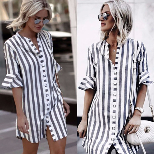 2019 Summer New Fashion Women Dress Half Sleeve Stand Collar Stripe Dresses Cardigan Style Loose Casual Vintage Female Vestidos