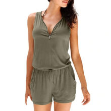summer womens jumpsuit romper Holiday Casual Zipper Mini Playsuit Ladies Jumpsuit Summer Beach Romper womens jumpsuit C30814