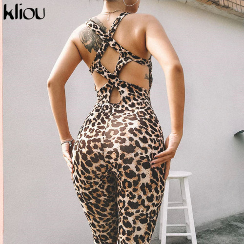 Kliou women sexy Leopard jumpsuits 2019 new elastic skinny fitnees sporting bodysuit back bandage hollow out female sexy rompers