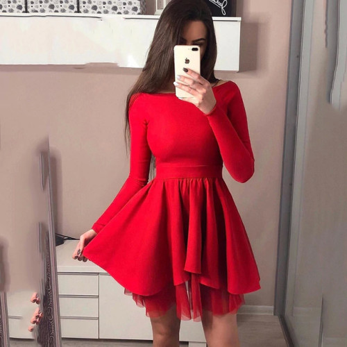 Women Spring Fashion 2019 A-Line Long sleeve Lace stitching Dress Sexy Solid One word collar red Pink princess Dress vestidos