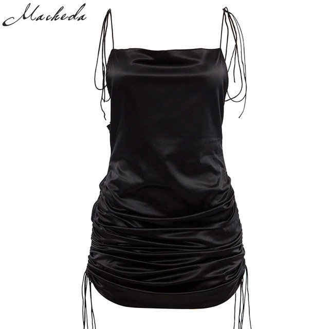 Macheda Fashion Women Solid Spaghetti Straps Backless Sleeveless Sexy Dresses Bottom Length Adjustable Ladies Casual Dress Ne'w