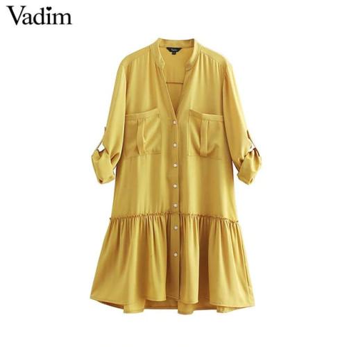 Vadim women green yellow V neck mini dress pockets pleated long sleeve straight dresses female casual solid loose vestido QB198