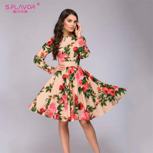 S.FLAVOR Women Long SLeeve Florl Print Dress Knee Length Casual A Line Dress Elegant Spring autumn Women Party  Dresses Vestidos