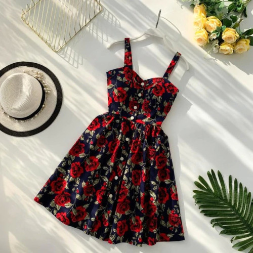 Boho 2019 Floral Print Vintage Spaghetti Strap Summer Mini Short Dress Party Polka Dot Casual Women Beach Holiday Retro Vestiods