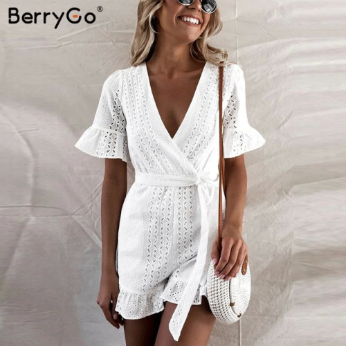 BerryGo Sexy deep v-neck jumpsuit romper women Ruffled hollow out embroidery cotton white playsuit Elegant sashes jumpsuit short