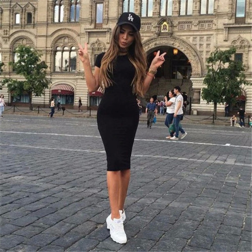ZSIIBO Womens Dress Vestido Short Sleeve Slim Bodycon Dress Tunic Crew Neck Casual Pencil Dress New Arrival drop shipping