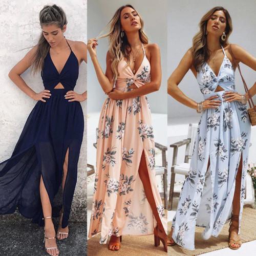 Womens Summer Boho Maxi Long Dress Evening Party Beach Dresses Sundress Floral Halter Dress Summer 2018