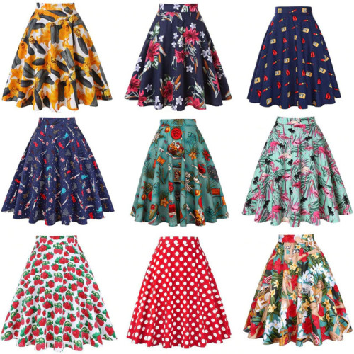 High Waist Runway Pleat Skirt Black Knee Length Flared Skirts Retro Vintage 50s Rockabilly Swing Skirts Women Faldas Saia Jupe