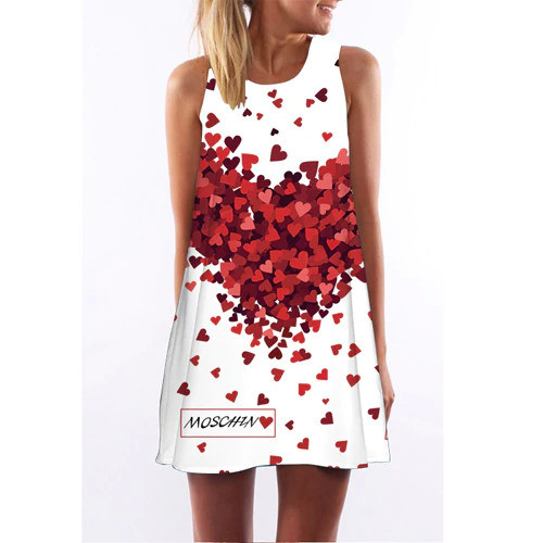 BHflutter 2018 Women Dress New Arrival Cute Mouse Print Casual Summer Dress Sleeveless O neck Short Party Dress Robe Femme Ete