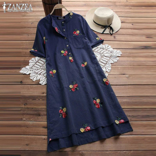 Women Embroidery Dress 2019 Summer Long Top Vintage Cotton Linen Knee High Shirt Vestido Female Plus Size Blusas Kaftan Robe 5XL