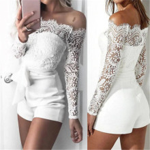 New Lace Off Shoulder Bodysuit Women See Through Long Sleeve Skinny Solid Women Sets Rompers Casual Feminino Jumpsuit Bodysuit