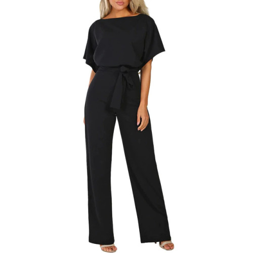 elegant office work Overalls for women rompers Straight Leg long Jumpsuit belt black mono pata de elefante mujer salopette femme