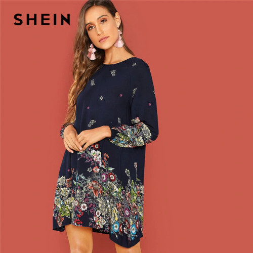 SHEIN Beach Contrast Lace Keyhole Back Floral Trapeze Round Neck Long Sleeve Dress Autumn Casual Women Spring Short Dresses