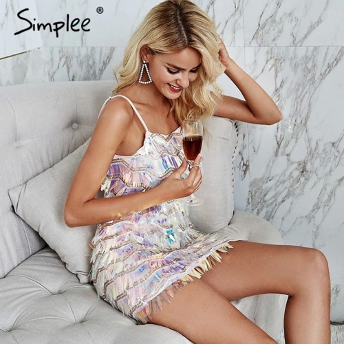 Simplee Sexy strap sequined bodycon party dress Mesh splice backless mini dress Geometric elegent high waist summer dress women