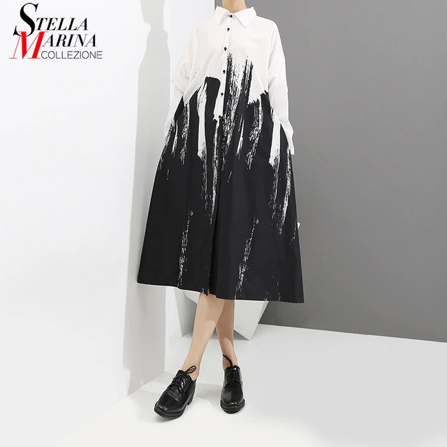 2019 Women Summer Painting Style Loose White Shirt Dress Long Sleeve Print Female Plus Size Party Club Midi Casual Dresses 3400