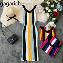 Gagarich Striped Fashion Women Dresses 2019 Spring Summer Robe Femme Bodycon Sweater Dress Sleeveless Stretch Knitted Vestidos