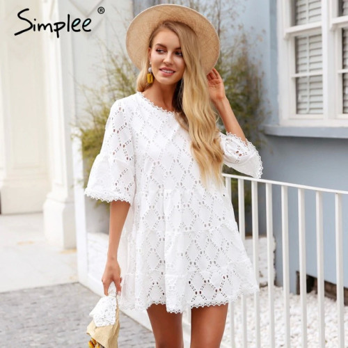 Simplee Flare sleeve cotton white lace dress Women casual ladies dress 2018 Summer high waist short dress autumn vestidos festa