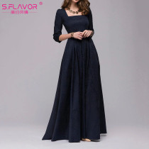 S.FLAVOR Women Vintage square collar long dress New Elegant solid color 3/4 sleeve party vestidos Casual Spring Summer dress