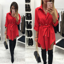 2019 Irregular tie waist shirt dress Women autumn 2017 wrap dress Long sleeve turn down collar Army green red short mini dresses