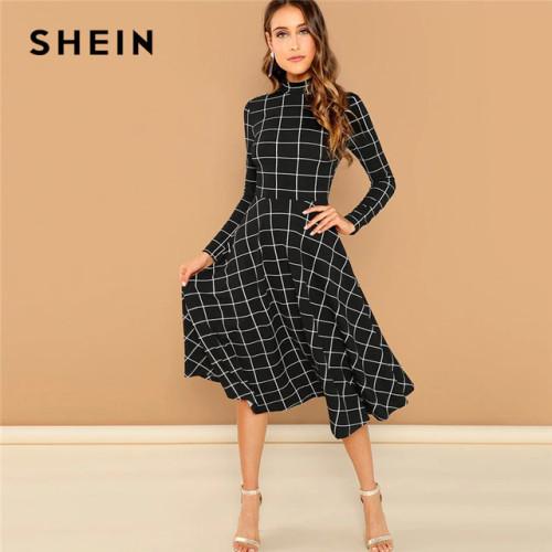 SHEIN Black Elegant Plaid Print High Neck Fit And Flare Long Sleeve High Waist Dress 2018 Autumn Casual Women Long Dresses