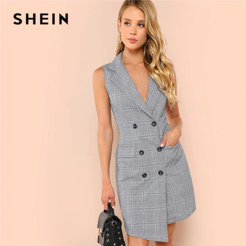SHEIN Black and White Elegant Notch Collar Double Breasted Surplice Wrap Dress 2018 Summer Slim Modern Lady Women Dresses