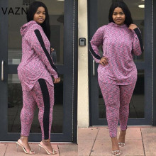 VAZN Autumn Lady Hot Casual Brand Women 2 Piece Set Solid Hooded Full Sleeve Full Length Age Reduction Women Bodyocn Set MJ1027
