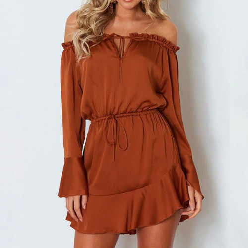 Liva girl Summer Fashion Women Solid Flare Sleeve Slash-Neck Off Shoulder Club Party Mini Dress Ladies Clothing 5 Colors 9.14