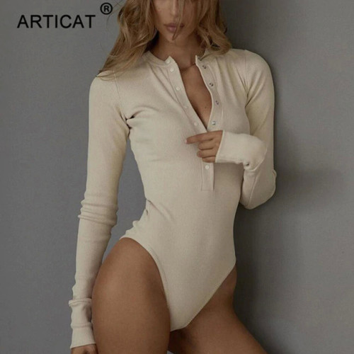 Articat Ribbed Knitted Sexy Bodycon Bodysuit Women Autumn Long Sleeve Slim Rompers Womens Jumpsuit Casual Skinny Party Overalls