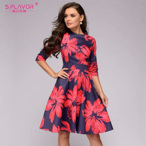 S.FLAVOR Women red flowers printing short dress Spring Summer fashion casual A-line patry dress Elegant 3/4 sleeve vestidos