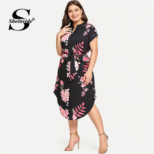 Sheinside Plus Size Elegant Floral Print Straight Belted Dress Women 2019 Summer Black Casual Roll Up Sleeve Midi Dresses