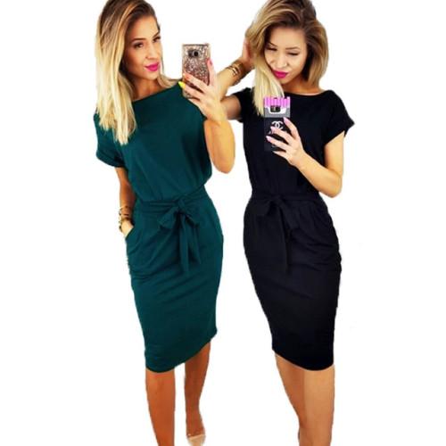 Women Spring Vintage Knee-Length dresses O-neck Short Sleeve Green Black dress Lady Casual Elegant Party Pencil dress Vestidos