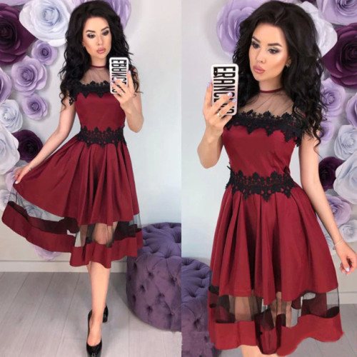 Women Vintage Lace Patchwork a Line Party Dress Ladies Sleeveless o Neck Hollow Out Elegant Dress 2019 New Fashion Women Dress