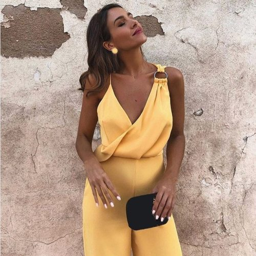 Wide Leg Jumpsuit 2018 Summer Deep V Neck Yellow Sleeveless Jumpsuit Vacation Women Jumpsuit