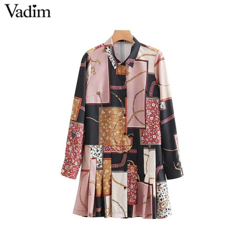 Vadim women floral chain print shirt dress long sleeve turn down collar pleated casual mini dresses vestidos mujer QA665