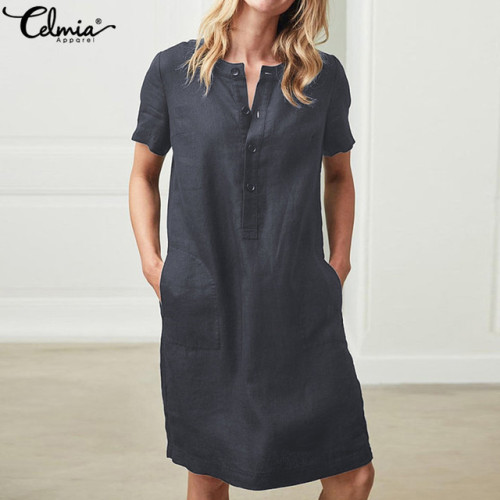 Summer Linen Dress 2019 Celmia Women Tunic Top Short Sleeve Shirt Button Female Vintage Casual Sundress Sarafans Vestidos S-5XL