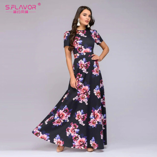 S.FLAVOR Spring Summer Short Sleeve Floral Print Long Dress Elegant Party Dress Vintage Women Clothing Bohemian Vestidos De