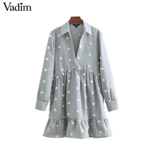Vadim Women dots embroidery mini dress turn down collar pleated ruffles female casual dresses solid straight vestidos QB265