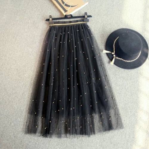 Dingzhuang net yarn skirt long section 2017 spring and summer A type was thin big skirts brown gold silver