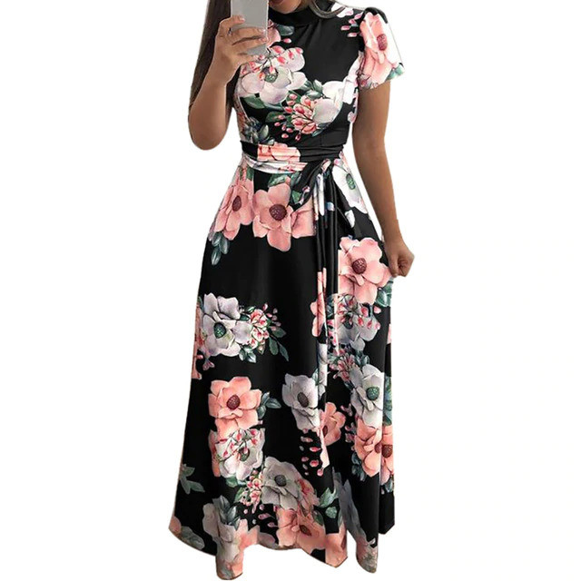 KANCOOLD Dress Fashion Women O-Neck Floral Printed Short Sleeve Dress Empire Sashes Casual Bandage Dress women 2018AUG8
