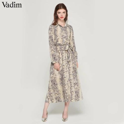 Vadim women snake skin pattern maxi dresses ankle length long dress bow tie sashes long sleeve casual chic vestidos QA472