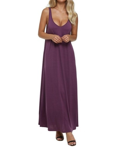 Women Dress 2019 Summer Sexy V Neck Backless Solid Sleeveless Long Maxi Tank Dresses Vintage Casual Loose Vestidos Plus Size 2xl