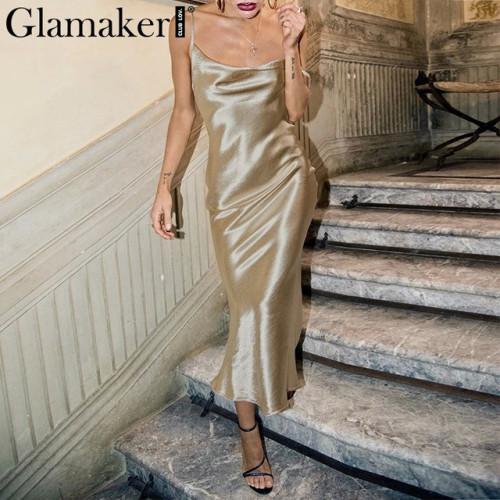 Glamaker Glod satin lace up sexy dress Women backless fashion silk long party dress Elegant club evening soft summer dress 2019