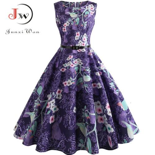 Womens Summer Dresses  Women Robe Elegant Vintage Retro Swing Rockabilly Dress High Waist Floral Runway Sundress Tunic