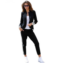 MVGIRLRU women 2 two Piece Set suits Long sleeve stand-up collar buttonless Black and white tracksuit