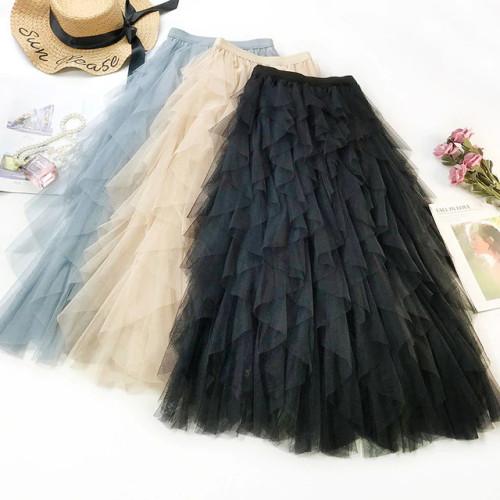 2019 Summer Women Boho Long Skirt High Waist Ruffles Women Beach Skirts Pink Jupe Femme Tulle Skirt Saia Midi Faldas