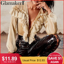 Glamaker Ruffle chiffon mesh long sleeve bodysuit Women transparent  v neck bodysuit blouse Sexy summer bodycon female bodysuit