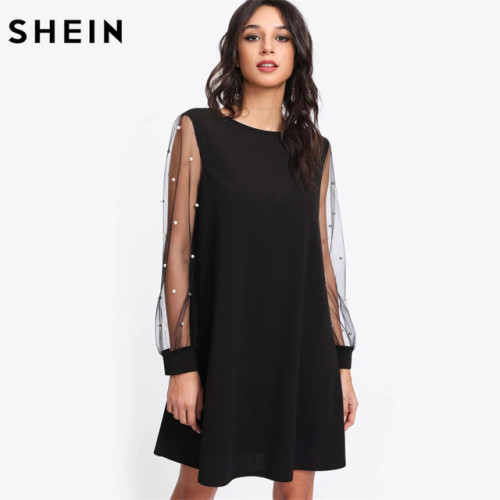 SHEIN Elegant Womens Dresses Pearl Beading Mesh Sleeve Tunic Dress Autumn Black Boat Neck Long Sleeve A Line Dress