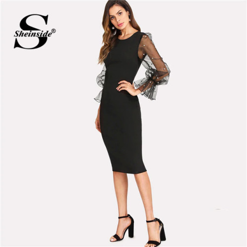 Sheinside Pearl Beaded Mesh Sleeve Midi Dress Women Knee Length Regular Fit Bodycon Dress Summer Elegant Pencil Party Dress