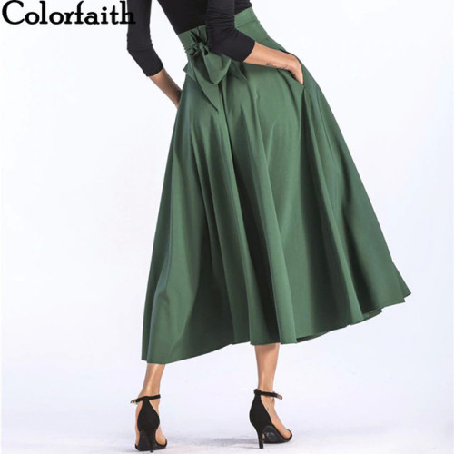 Colorfaith 2019 Women Slit Long Maxi Skirt Vintage Ladies Fashion Pleated Flared Pockets Lace Up Bow Plus Size 4XL Skirt SK8831